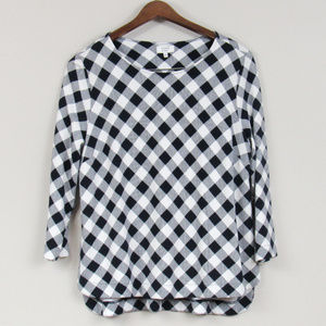 Knit Gingham Top Pullover Navy White Size Medium